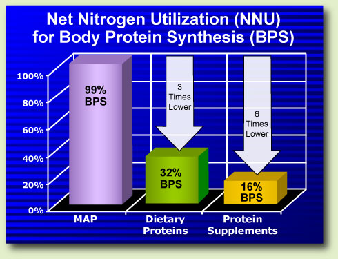 Compare MAP to dietary proteins, protein supplements like whey, casein, soy
